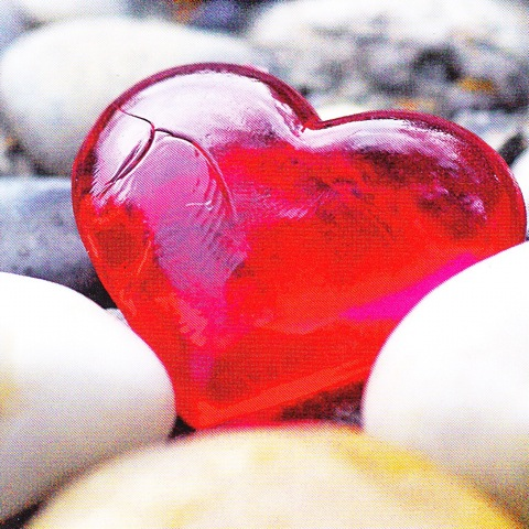 Coeur verre 7.5cm x 7.5cm